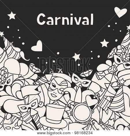 Carnival show background with doodle icons and objects