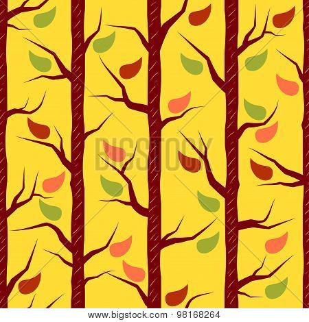 Fall Trees With Colorful Leaves. Vector Seamless Pattern