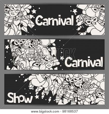Carnival show banners with doodle icons and objects