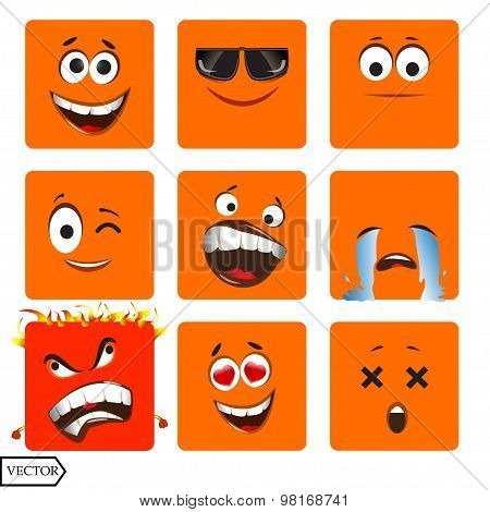 Vector illustration set of cool glossy Single Emoticons on a background.