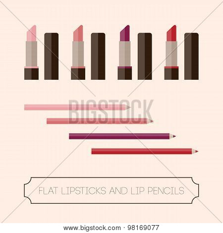 Flat Set Of Lipstick And Lip Liner