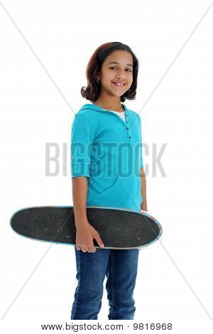 Child With Skateboard White Background