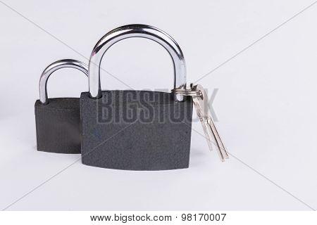 Door handle gray lock. Door fittings