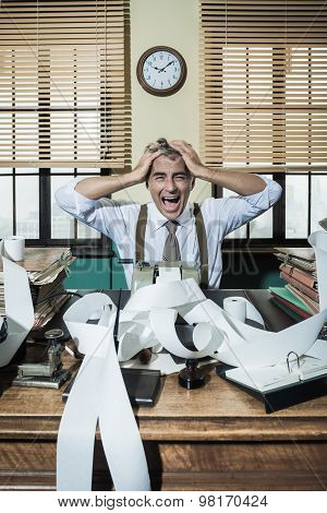 Desperate Accountant Shouting Head In Hands In Vintage Office