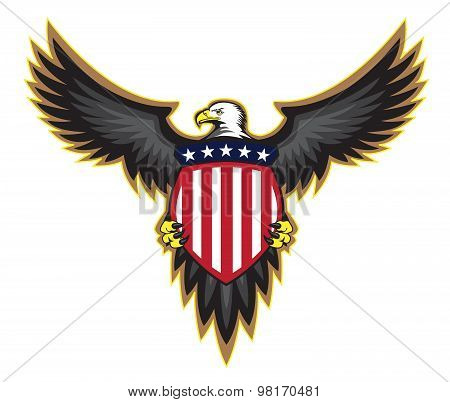 Patriotic American Eagle, Wings Spread, Holding Shield