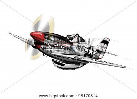 Vintage Propeller Airplane Cartoon