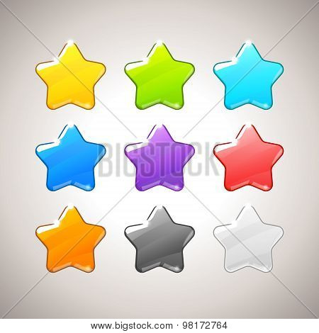 Set of Colorful Stars