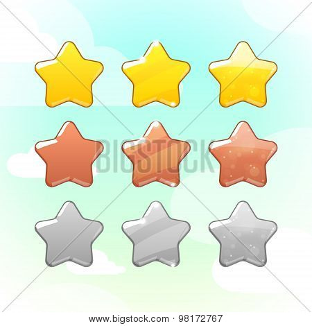 Set of Golden, Silver and Bronze Stars