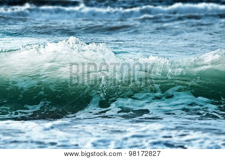 Stormy Sea Waves - Blue And Green Background