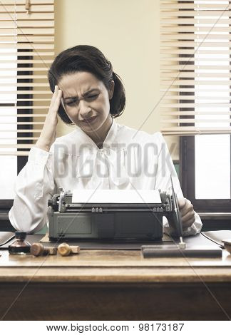 Vintage Secretary With Headache
