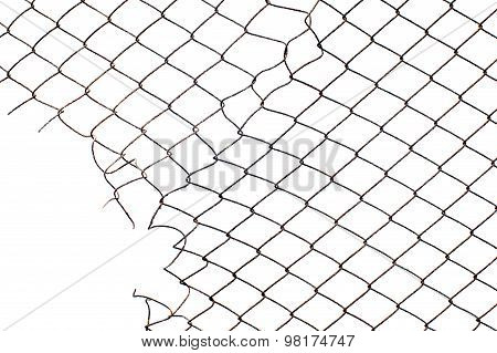 Corner Hole In The Mesh Wire Fence