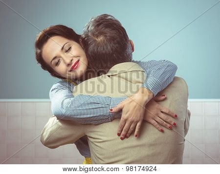 Happy Couple Embracing