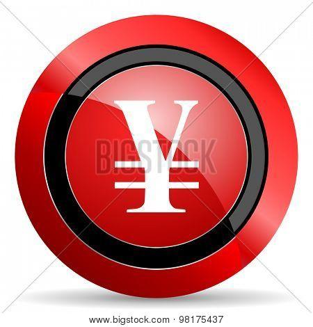 yen red glossy web icon
