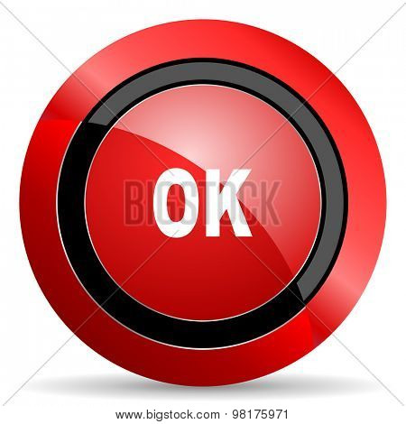 ok red glossy web icon