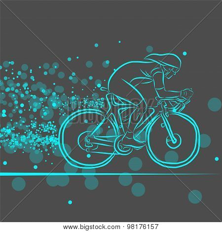 Bicycle Rider with Dots - Illustration