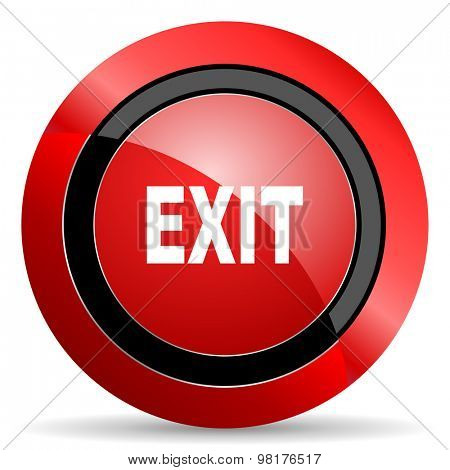 exit red glossy web icon