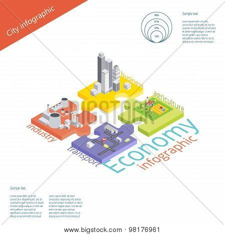 Economy infographic. Vector isometric illustration. Industry, tr