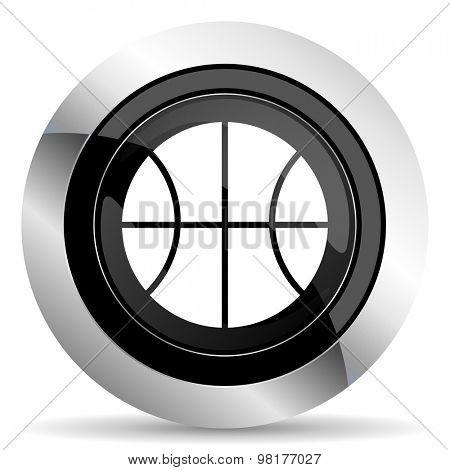 ball icon, black chrome button, basketball sign