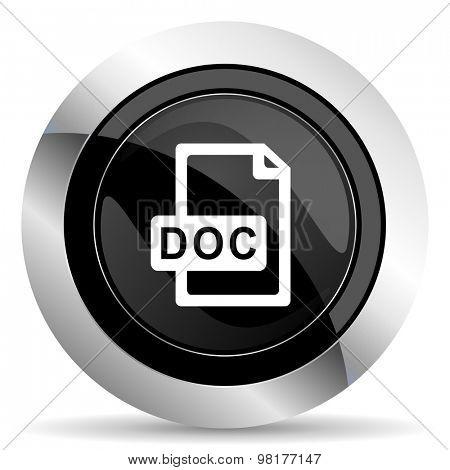 doc file icon, black chrome button