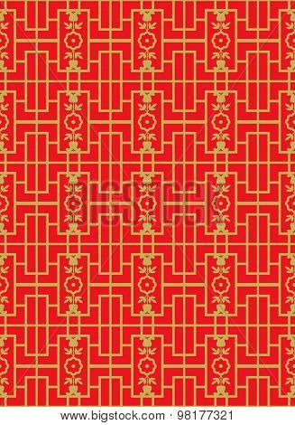 Golden seamless Vintage Chinese style window tracery square flower line pattern background.