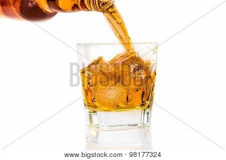 Barman Pouring Whiskey On White Background