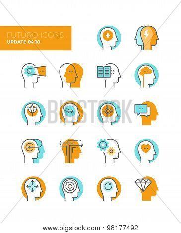 Human Mind Metaphors Line Icons