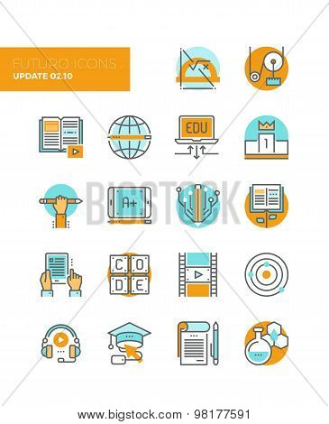 Education Technology Line Icons
