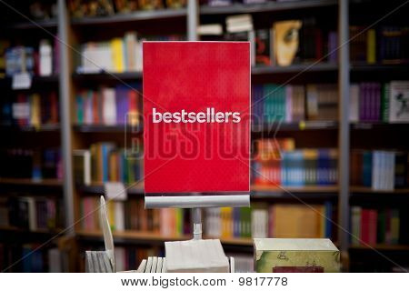 Bestsellers Area In Bookstore - Many Books In The Background.