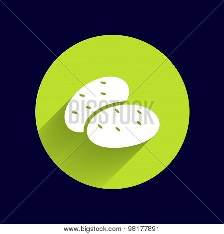 icon potato isolated vegetarian chips meal ripe two logo