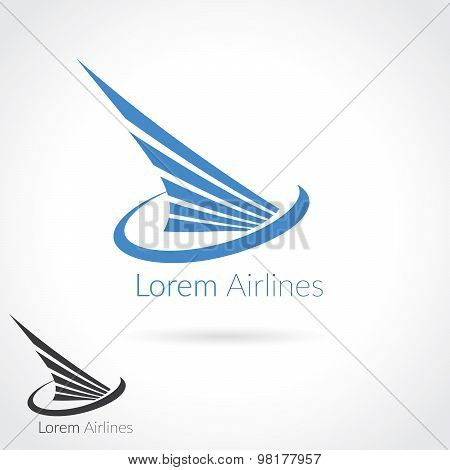 Wing Abstract Logo Template For Flight Company, Air Shipping, Airlines Logotype Or Emblem