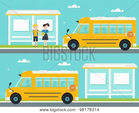 Schoolboy and Schoolgirl Waiting for School Bus at Bus Stop. School Bus Leaving Bus Stop