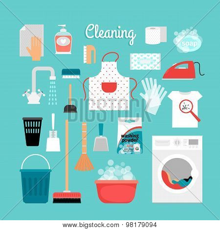 Set of objects for cleaning