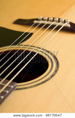 Detail Of Front Side Of Acoustic Guitar