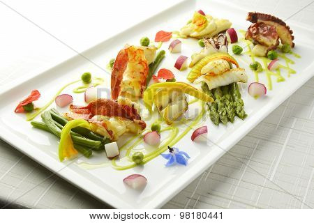 Braised Fish Dish Shrimp Lobster Scallop Squid Octopus Asparagus Pea Beans
