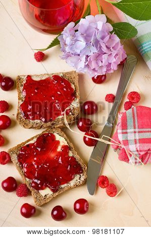 Morning Breakfast With Toast And Fruit Marmalade