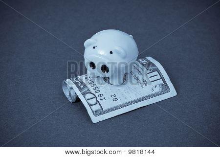 Piggy miniatura en dinero