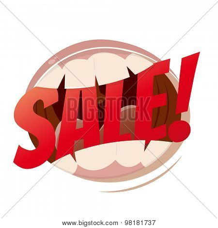 funny cartoon mouth with word sale