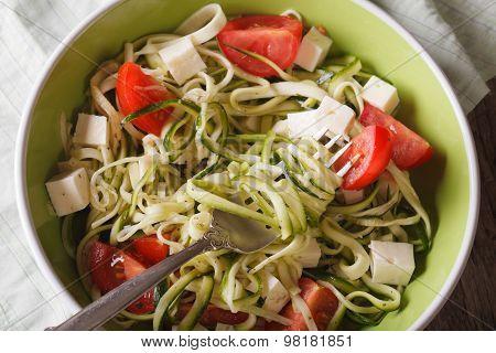 Zucchini Spaghetti With Feta And Tomatoes Macro. Horizontal Top View
