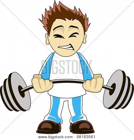 Illustration of a cartoon bodybuilder lifting heavy weights