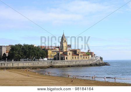 Gijon Beach In Spain