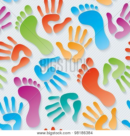 Multicolor Handprints & footprints wallpaper. 3d seamless background. Vector EPS10.
