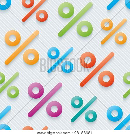 Multicolor percent symbols wallpaper. 3d seamless background. Vector EPS10.