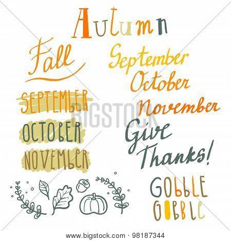 Hand drawn cute vector autumn lettering set
