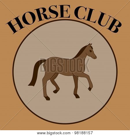 Vector Brown Label For Horse Club Or Riding Club With One Horse In The Round Frame