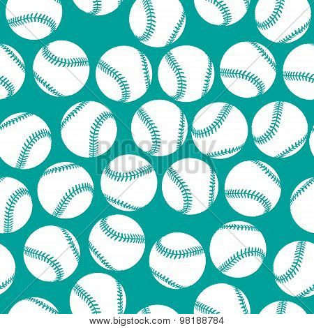 White baseball icons on green background seamless pattern