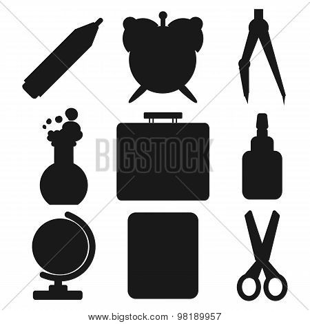Black school goods silhouettes