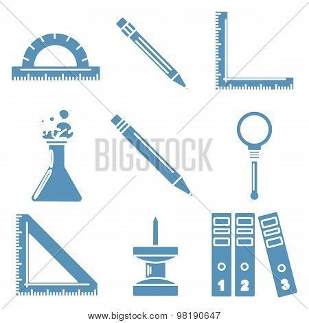 Back to school goods, light blue linear icons