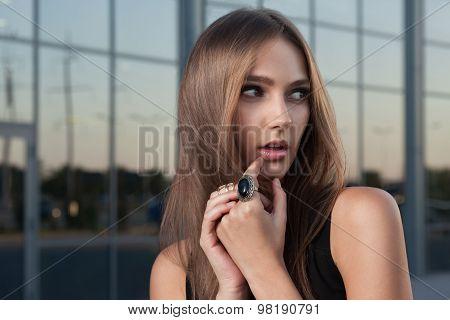 Closeup Portrait Of Fashionable Woman