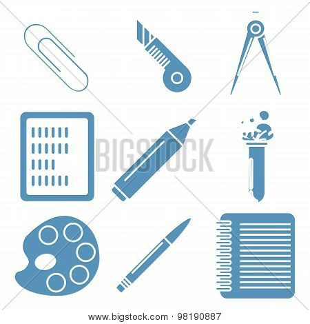 Black school goods, light blue linear icons.