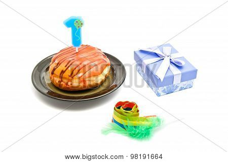 Donut With One Years Birthday Candle, Gift And Whistle